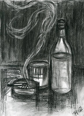 Roz Barron Abellera Drawing - Cigarettes And Alcohol by Roz Abellera Art