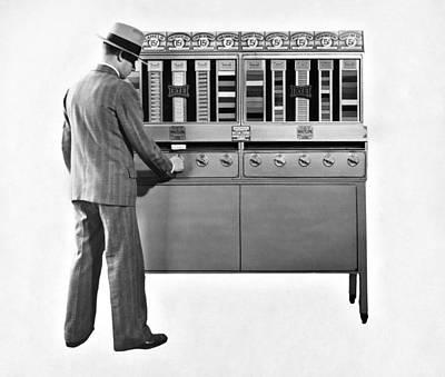 Cigarettes Vending Machine Art Print by Underwood Archives