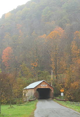 Photograph - Cilly Covered Bridge Tunbridge Vermont Late Autumn by John Burk