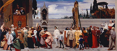 Cimabues Celebrated Madonna Is Carried In Procession Through The Streets Of Florence Art Print