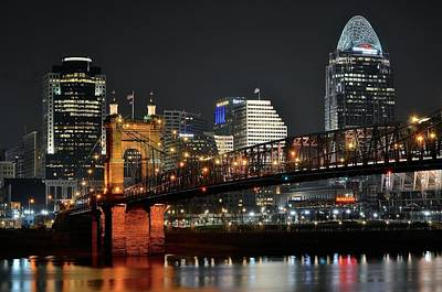 After Midnight Photograph - Cincinnati Across The Ohio River by Frozen in Time Fine Art Photography
