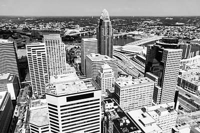 Cincinnati Aerial Skyline Black And White Picture Art Print by Paul Velgos