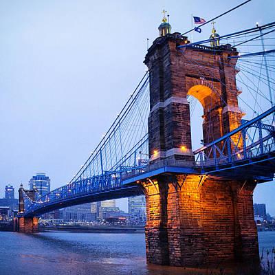 Moody Trees - Cincinnati and Robeling Suspension Bridge at Twilight by Tanya Harrison