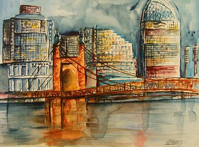 Roebling Bridge Painting - Cincinnati At Dusk by Elaine Duras