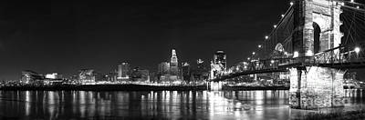 Roebling Bridge Photograph - Cincinnati At Night by Twenty Two North Photography