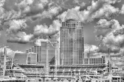 Cincinnati Ballpark Clouds Bw Art Print by Mel Steinhauer