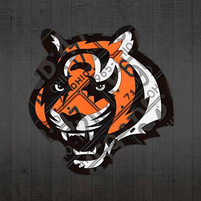 Cincinnati Mixed Media - Cincinnati Bengals Football Team Retro Logo Ohio License Plate Art by Design Turnpike