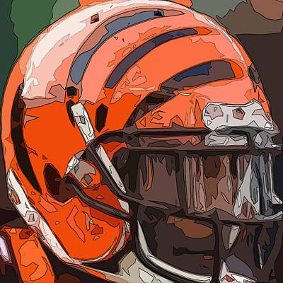 Gridiron Digital Art - Cincinnati Bengals Helmet Abstract 2 by David G Paul