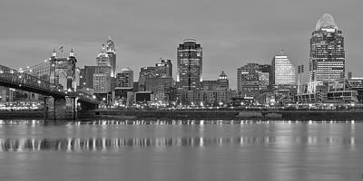 Black Commerce Photograph - Cincinnati Black And White Panorama by Frozen in Time Fine Art Photography