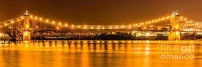 Roebling Bridge Photograph - Cincinnati Bridge At Night Panoramic Picture by Paul Velgos
