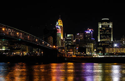 Art Print featuring the photograph Cincinnati By Night by Cathy Donohoue