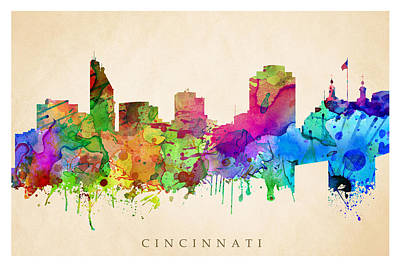 Digital Art - Cincinnati Cityscape by Steve Will
