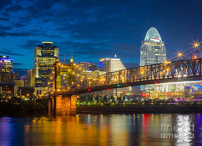 Reflective Photograph - Cincinnati Downtown by Inge Johnsson