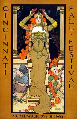 Wreath Drawing - Cincinnati Fall Festival September 7 To 19 1903 Poster For The Festival Showing A Woman Seated  by Hugo Grenville