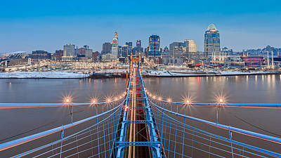 Roebling Bridge Photograph - Cincinnati From On Top Of The Bridge by Keith Allen