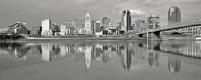 Photograph - Cincinnati Grayscale Panorama by Frozen in Time Fine Art Photography