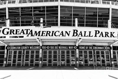 Greater Cincinnati Photograph - Cincinnati Great American Ball Park Black And White Picture by Paul Velgos