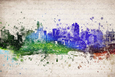 Skylines Drawings - Cincinnati in Color by Aged Pixel