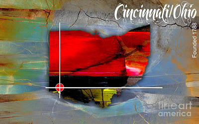 Mixed Media - Cincinnati Ohio Map Watercolor by Marvin Blaine