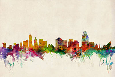 Watercolour Digital Art - Cincinnati Ohio Skyline by Michael Tompsett