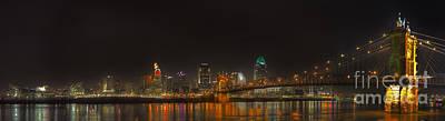Roebling Bridge Photograph - Cincinnati Ohio  Skyline by Twenty Two North Photography
