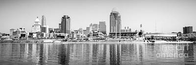 Sports Royalty-Free and Rights-Managed Images - Cincinnati Panorama Black and White Picture by Paul Velgos