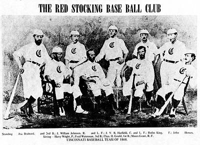 Cincinnati Red Stocking Baseball Team Art Print by Gary Wonning