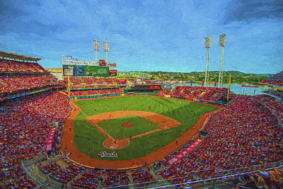 Photograph - Cincinnati Reds Great America Ballpark Painted Digitally by David Haskett