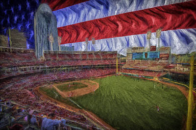 Photograph - Cincinnati Reds Great American Ballpark Flag Digitally Painted 2 by David Haskett
