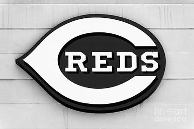 Baseball Royalty-Free and Rights-Managed Images - Cincinnati Reds Sign Black and White Picture by Paul Velgos
