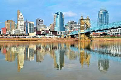 Roebling Bridge Photograph - Cincinnati Reflects by Frozen in Time Fine Art Photography