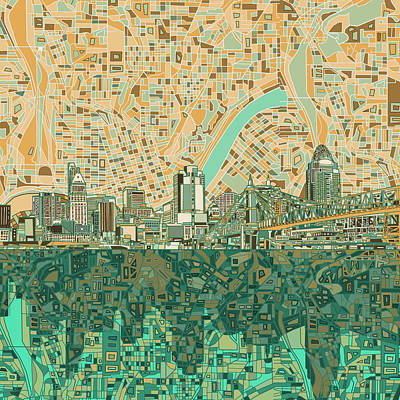 Painting - Cincinnati Skyline Abstract 2 by Bekim Art
