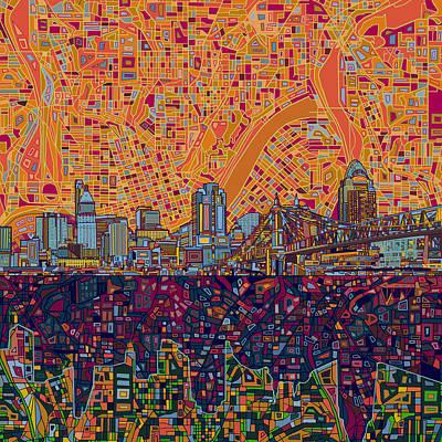 Painting - Cincinnati Skyline Abstract 3 by Bekim Art