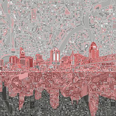Painting - Cincinnati Skyline Abstract 4 by Bekim Art