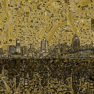 Painting - Cincinnati Skyline Abstract 5 by Bekim Art