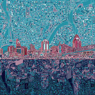 Abstract Digital Painting - Cincinnati Skyline Abstract 6 by Bekim Art