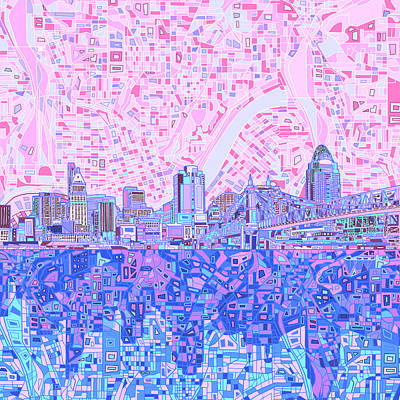 Painting - Cincinnati Skyline Abstract by Bekim Art