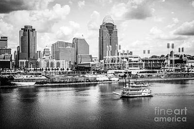 Steamboat Photograph - Cincinnati Skyline And Riverboat Black And White Picture by Paul Velgos