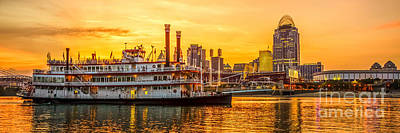 Steamboat Photograph - Cincinnati Skyline And Riverboat Panorama Photo by Paul Velgos