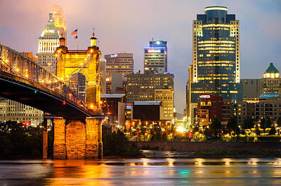 Cincinnati Skyline And The John A. Roebling Suspension Bridge Art Print