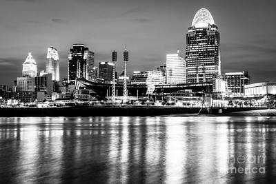 Ballpark Photograph - Cincinnati Skyline At Night Black And White Picture by Paul Velgos