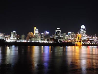 David Bowie - Cincinnati skyline at night from Covington Kentucky by Cityscape Photography