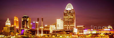 Sports Royalty-Free and Rights-Managed Images - Cincinnati Skyline at Night Panoramic Picture by Paul Velgos