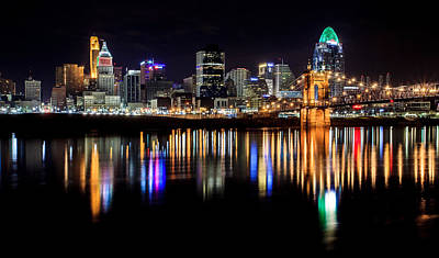 Skylines Royalty-Free and Rights-Managed Images - Cincinnati Skyline in Christmas colors by Keith Allen