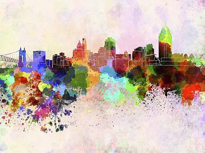 Panoramic Digital Art - Cincinnati Skyline In Watercolor Background by Pablo Romero