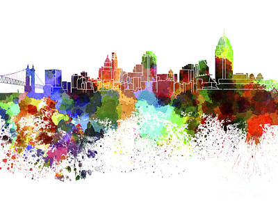 Cincinnati Skyline Painting - Cincinnati Skyline In Watercolor On White Background by Pablo Romero