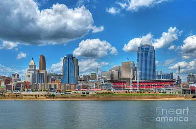 Stadium Scene Photograph - Cincinnati Skyline by Mel Steinhauer