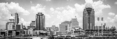 Cincinnati Skyline Panorama Black And White Photo Art Print