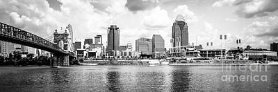 Roebling Bridge Photograph - Cincinnati Skyline Panoramic Picture by Paul Velgos