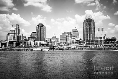 Cincinnati Skyline Photo In Black And White Print by Paul Velgos